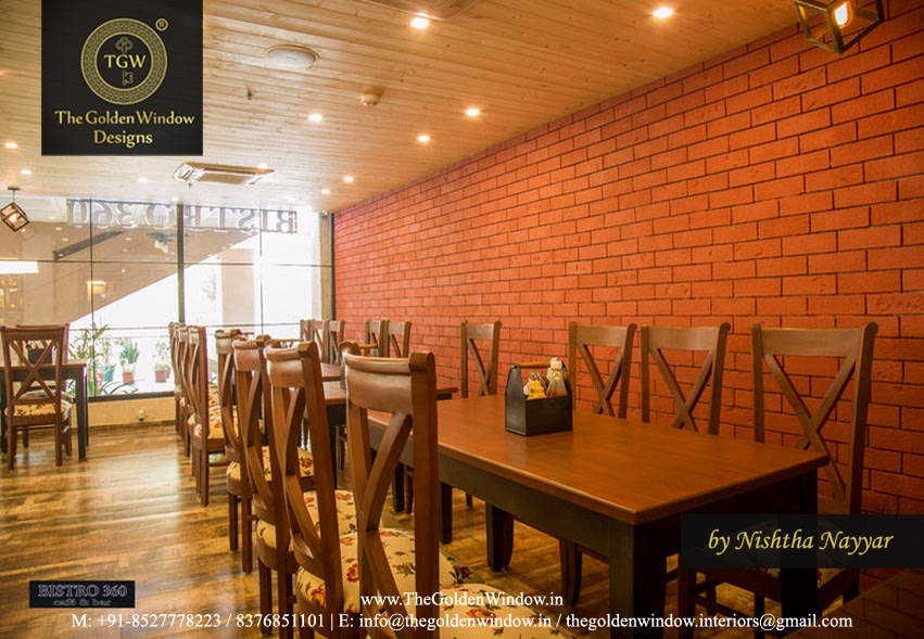 Sophisticated Cafe with Wooden Furniture and Brick Designed Wall by Chetan Chanana Modern | Interior Design Photos & Ideas