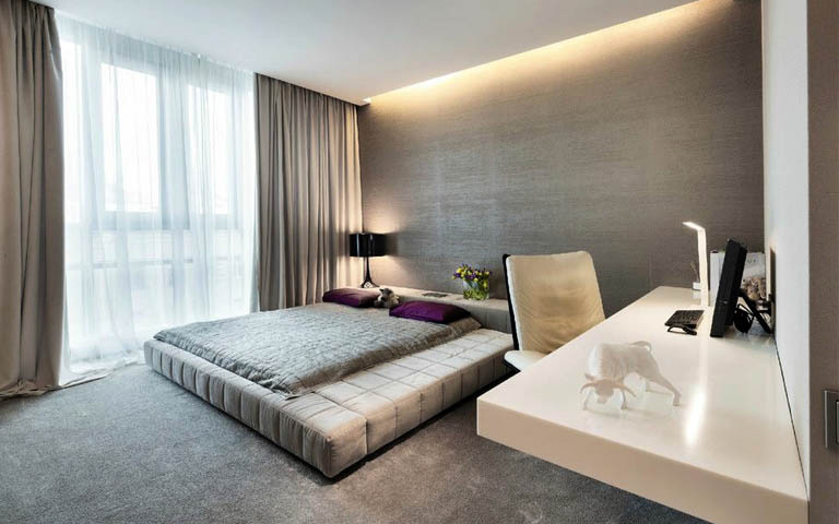 Small Bedroom With Elegant Interiors by Aneja Developers Bedroom Modern | Interior Design Photos & Ideas