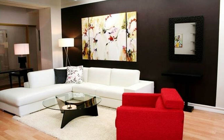 Classy Living Room With White And Red Sofa by Aneja Developers Living-room Contemporary | Interior Design Photos & Ideas