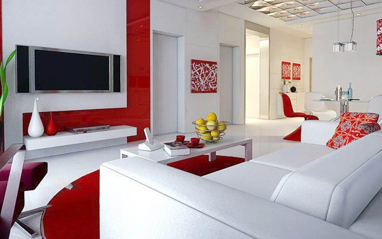 White And Red Shades For living Room by Aneja Developers Living-room Modern | Interior Design Photos & Ideas