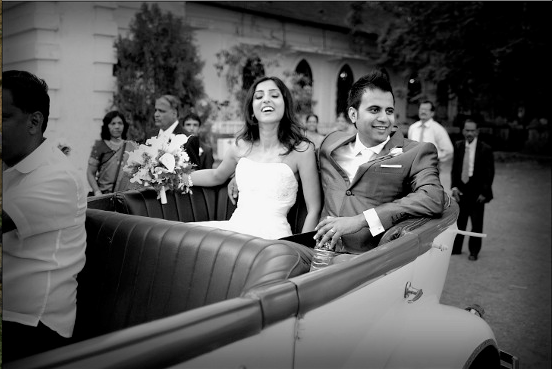 Bride and Groom Entry in a Vintage Car by The Wedding Frames Wedding-photography | Weddings Photos & Ideas