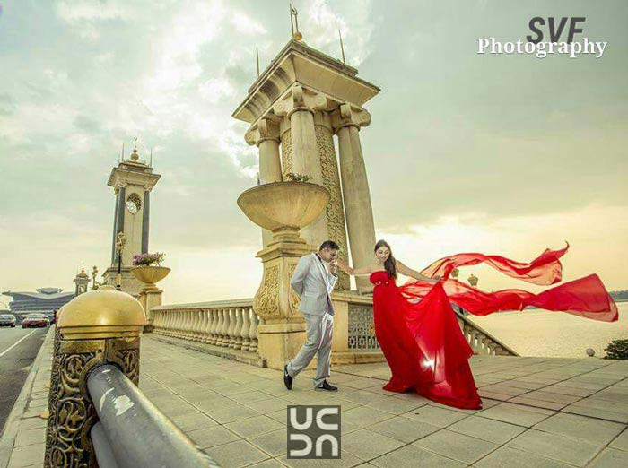 Bride To-Be in a Crimson Red Gown Against Stunning Backdrop by Sindhu Video Filming (V1Broadcast Live vdo Streaming ) Wedding-photography | Weddings Photos & Ideas