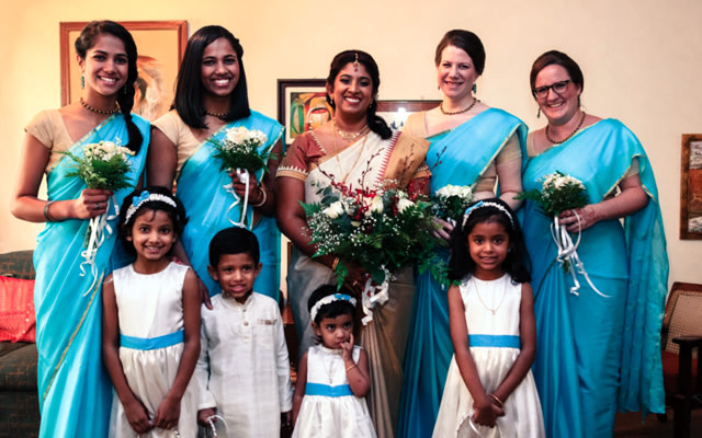 Bride and Her Bridesmaids Wearing Matching Sky Blue and Golden Sarees by Great Indian Weddings Wedding-photography | Weddings Photos & Ideas