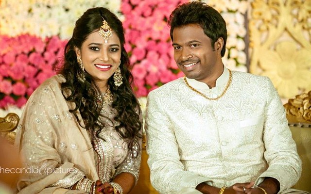 Bride and Groom Wearing Beige Themed Outfits During Their Reception by Kiran Kumar J Wedding-photography | Weddings Photos & Ideas
