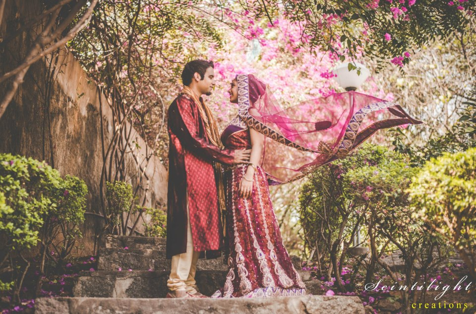 Bride-To-Be Wearing Magenta and Gold Lehenga by Gracian Wedding-photography | Weddings Photos & Ideas