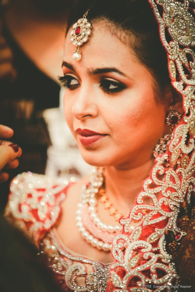 Bride Wearing Beautiful Polki Mang Teeka With Gemstones by Sajal Kapoor Wedding-photography | Weddings Photos & Ideas