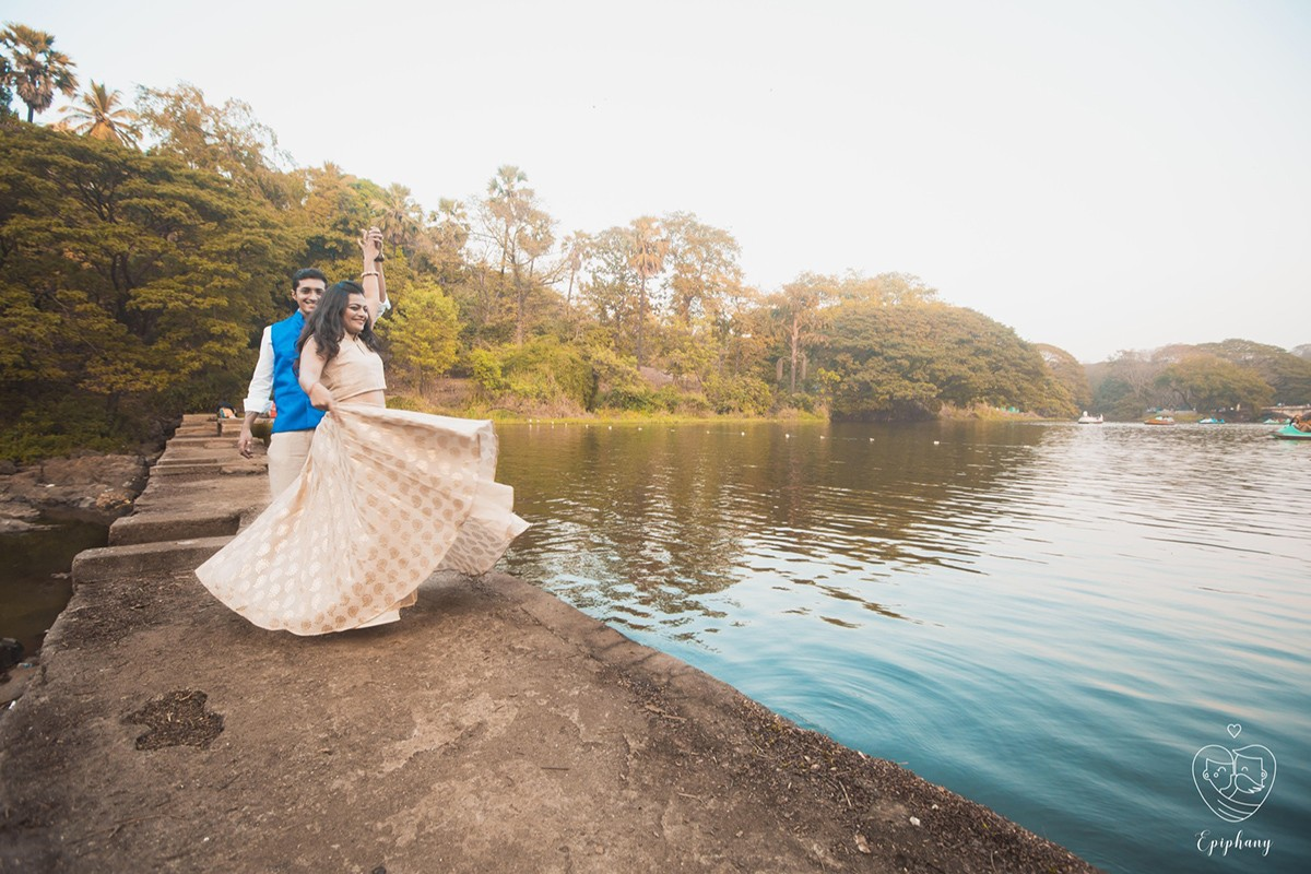 Bride and Groom To-Be Striking a Stunning Pose By the Lakeside by Sajal Kapoor Wedding-photography | Weddings Photos & Ideas