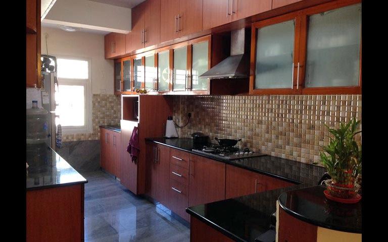 L Shaped Kitchen With Wooden Kitchen Cabinets by Vaishnavi Samant Modular-kitchen Contemporary | Interior Design Photos & Ideas