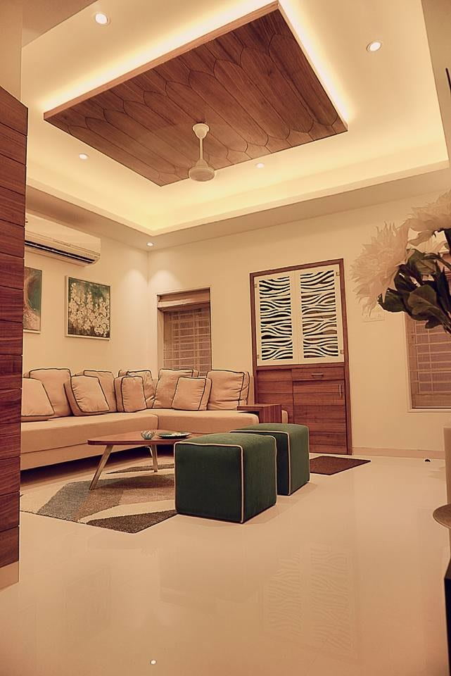 Living Room With Woodwork On False Ceiling by Mitul Shah Living-room Contemporary | Interior Design Photos & Ideas