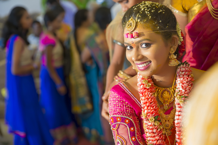 South Indian Bride Wearing Pink Matha Patti by Kishor Wedding-photography | Weddings Photos & Ideas