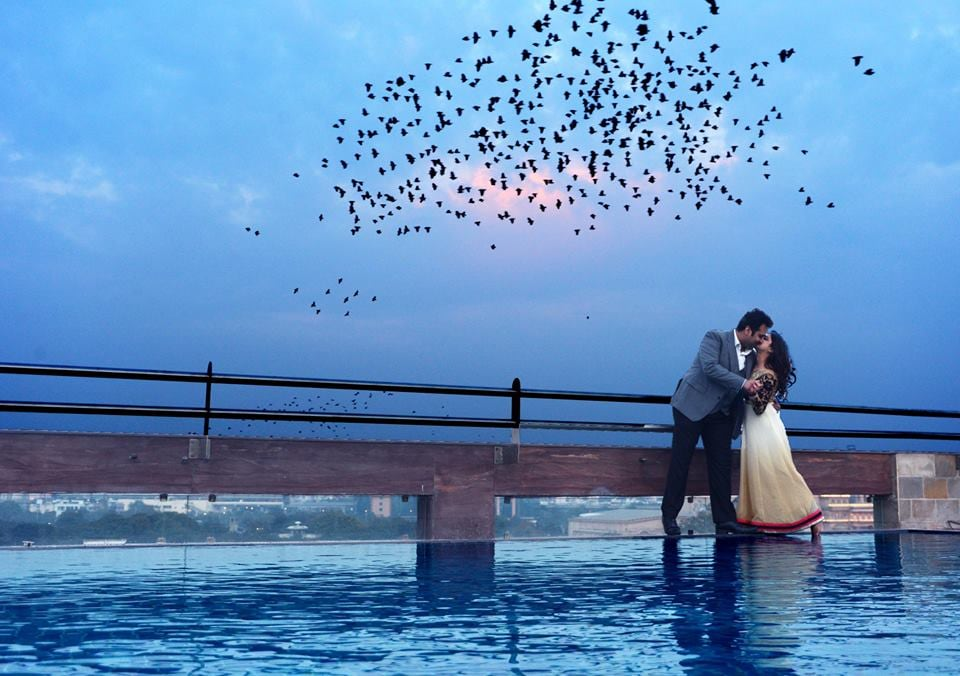 Bride and Groom Shoot By Pool Side by Nitin Tanwar Wedding-photography | Weddings Photos & Ideas