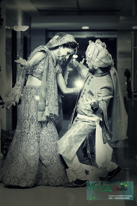 Happy bride and groom pose by Krishna Studio Wedding-photography | Weddings Photos & Ideas