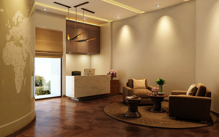 Office Reception With Loveseat Sofa And Wooden Flooring by Parvez Alam Contemporary | Interior Design Photos & Ideas