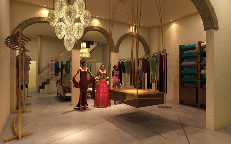 Large Showroom With Mannequins And Chandelior by Parvez Alam Contemporary | Interior Design Photos & Ideas