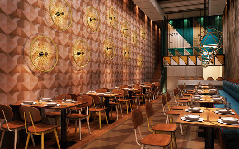 Restaurant Interiors With Mid century Modern Chairs And Wooden Flooring by Parvez Alam Eclectic | Interior Design Photos & Ideas