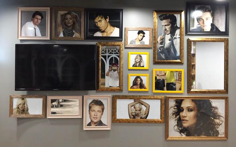 Frames Decor Around Tv Unit On Wall by Parvez Alam Living-room Contemporary | Interior Design Photos & Ideas