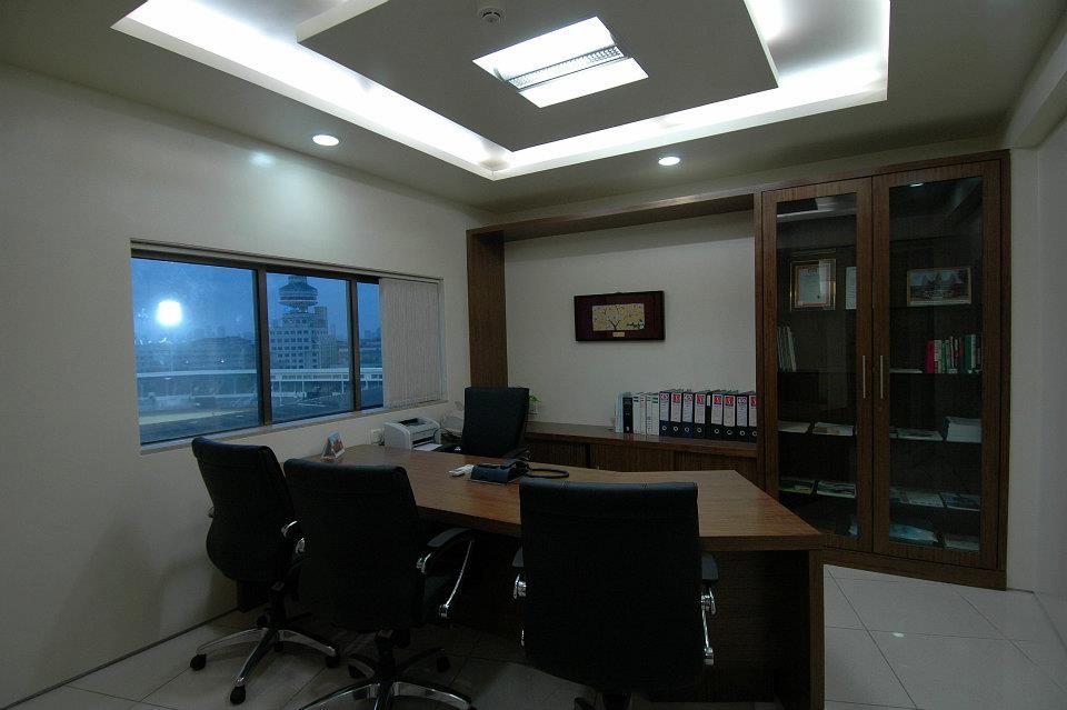 Wooden Furnished office Cabin With Designer False ceiling by Hoshedaar Eruch Carnac Modern | Interior Design Photos & Ideas