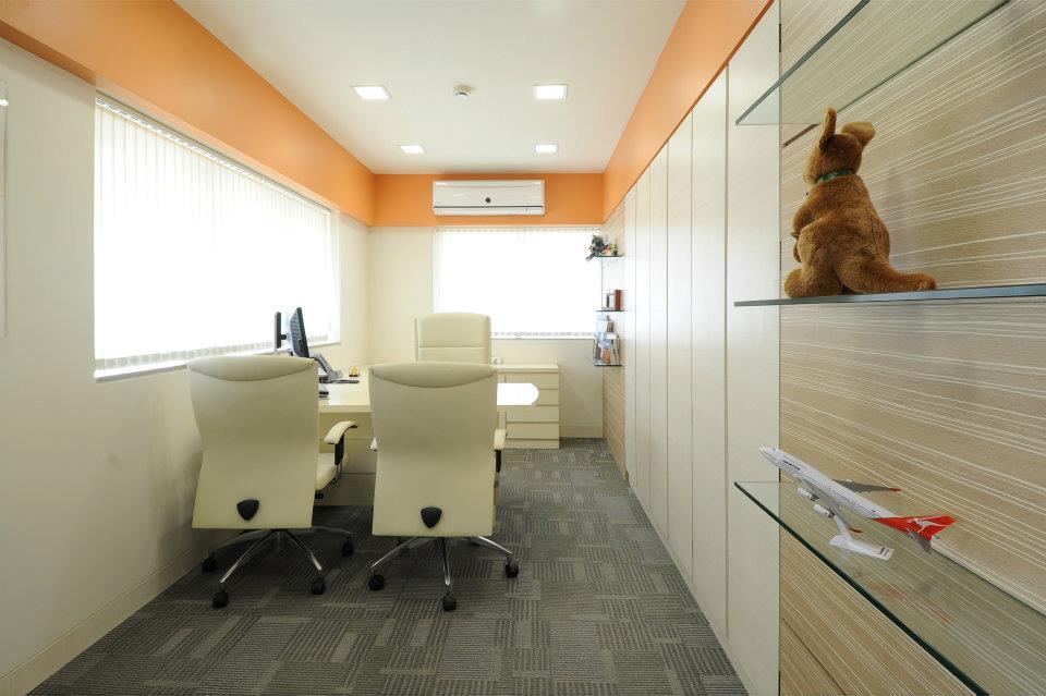 Office Cabin With Stylish White Wooden  Furniture by Hoshedaar Eruch Carnac Modern | Interior Design Photos & Ideas