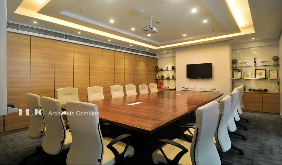 Large Meeting Room With Wooden Table White Chair And Wooden Wall by Hoshedaar Eruch Carnac Modern | Interior Design Photos & Ideas
