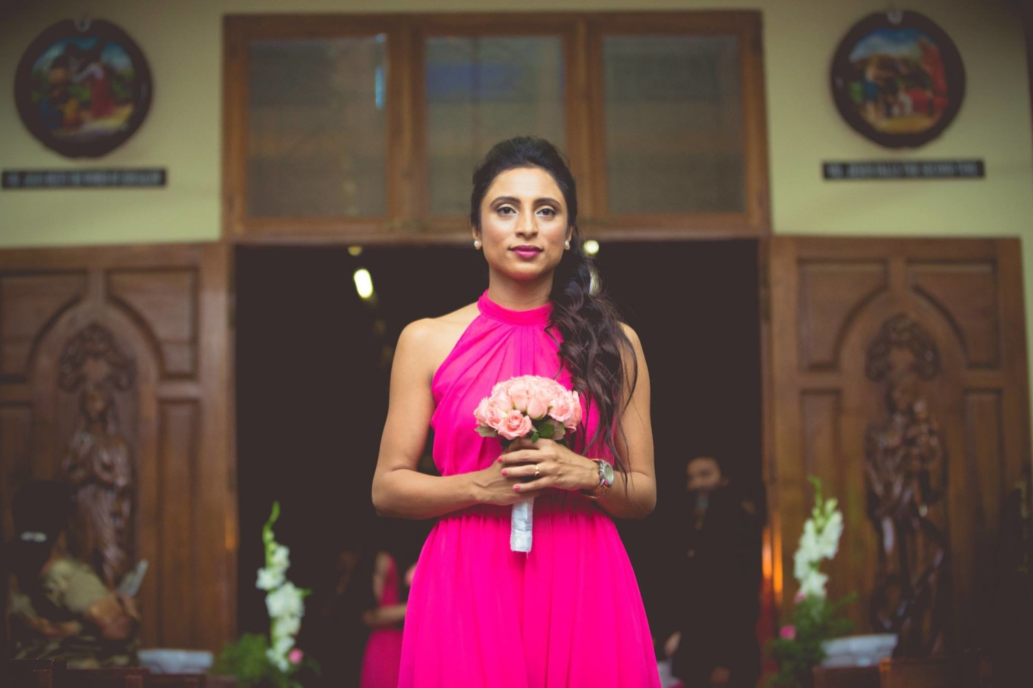 Bridesmaid Wearing Fuschia Pink Off Shoulder Gown by Bosco Naveen Wedding-photography | Weddings Photos & Ideas