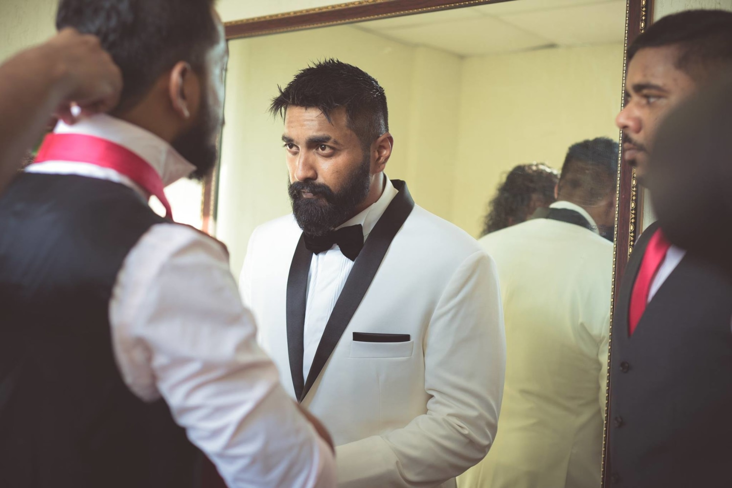 Groom Wearing White and Black Suit by Bosco Naveen Wedding-photography | Weddings Photos & Ideas