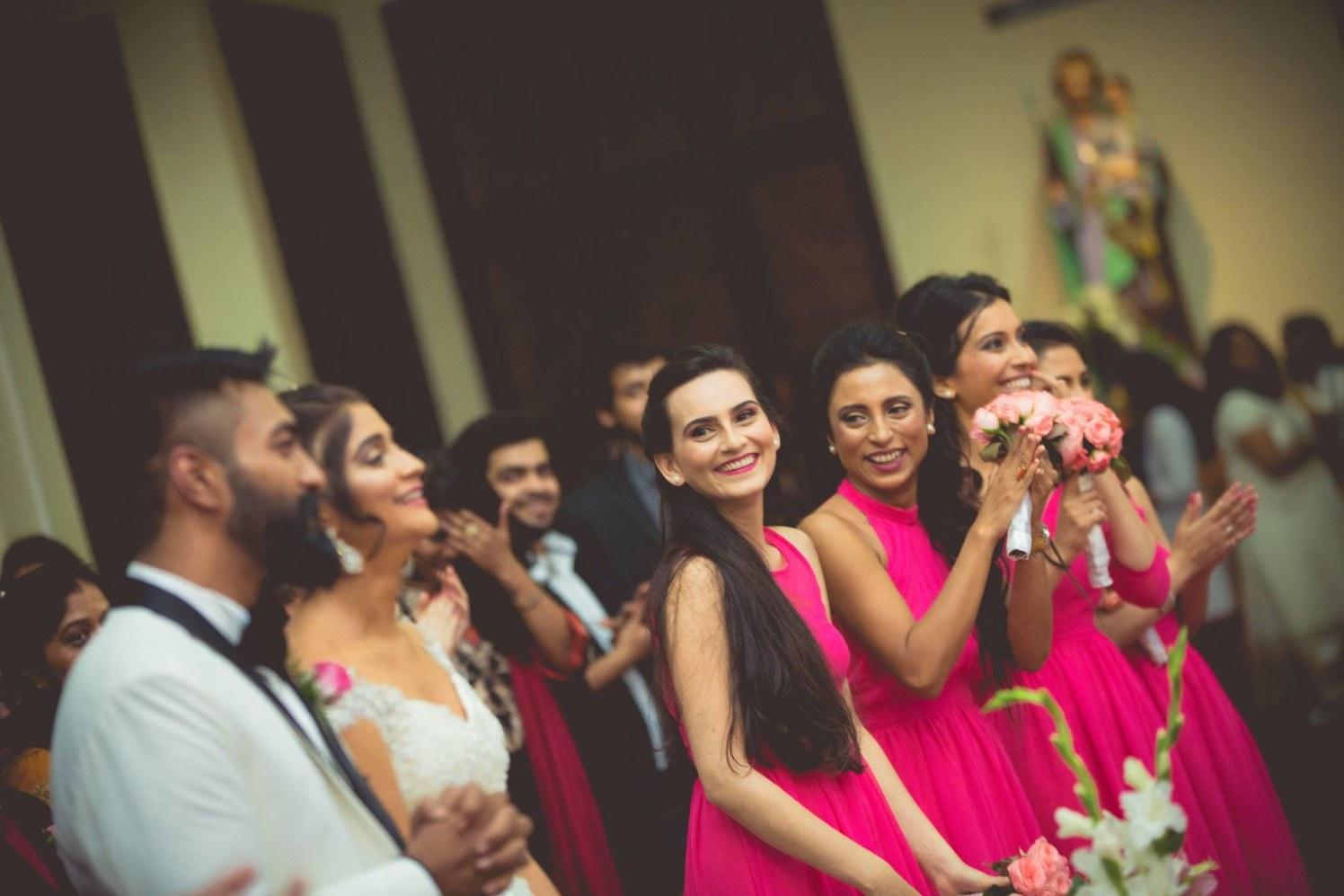 Bridesmaids Wearing Fuschia Pink Gowns by Bosco Naveen Wedding-photography | Weddings Photos & Ideas