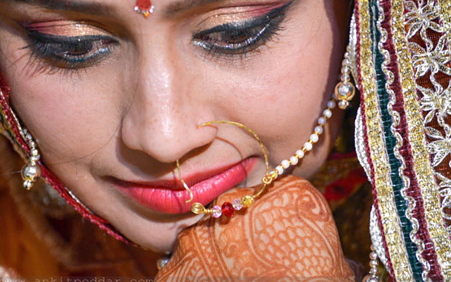 Golden Eyeshadowed Eyes With Winked liner And Nath by Ankit Poddar Bridal-makeup Bridal-jewellery-and-accessories | Weddings Photos & Ideas