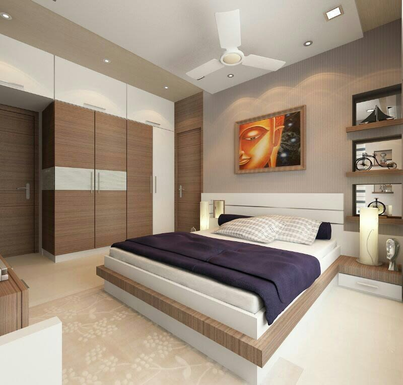 Bedroom With Box Bed Wall Mounted Wardrobe by Aisha Wani Contemporary | Interior Design Photos & Ideas
