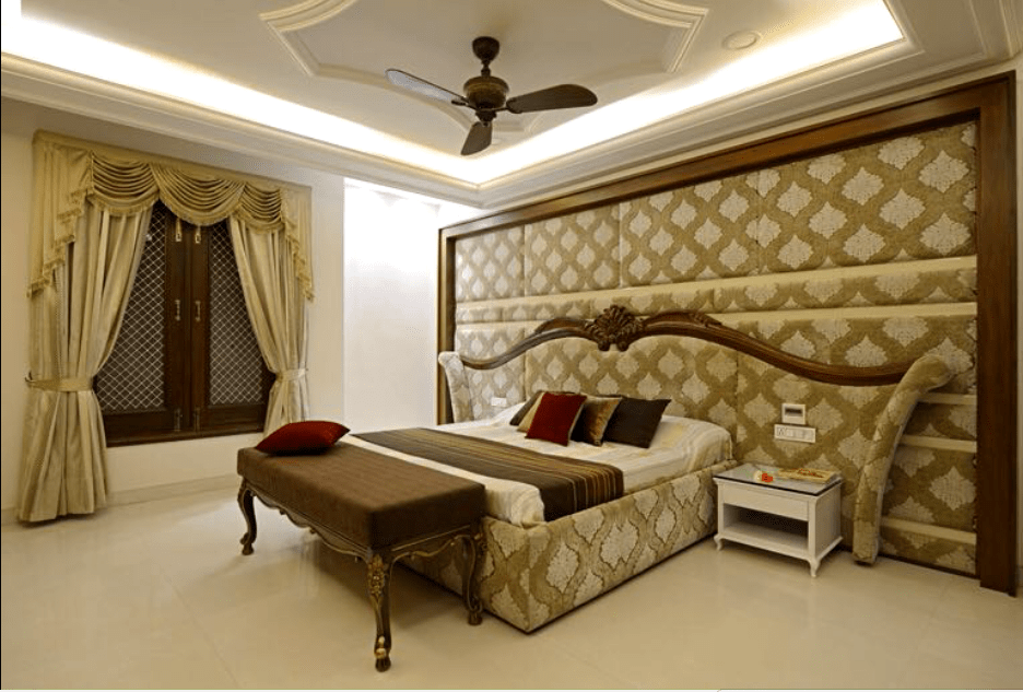 Bedroom With Traditional Bed And Wall Decor by Deepak Sharma Bedroom Contemporary | Interior Design Photos & Ideas