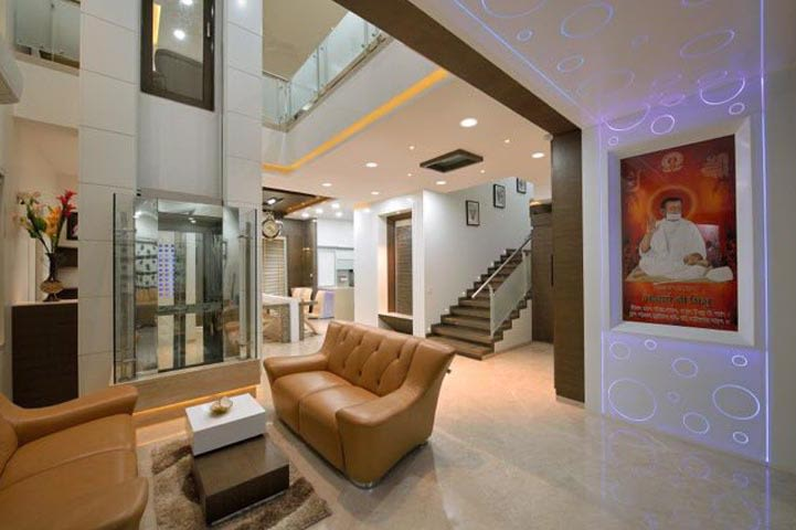 Living Room With Bent Arm Leather Back Sofa by Ar.Nitin j Kshirsagar Living-room Contemporary | Interior Design Photos & Ideas