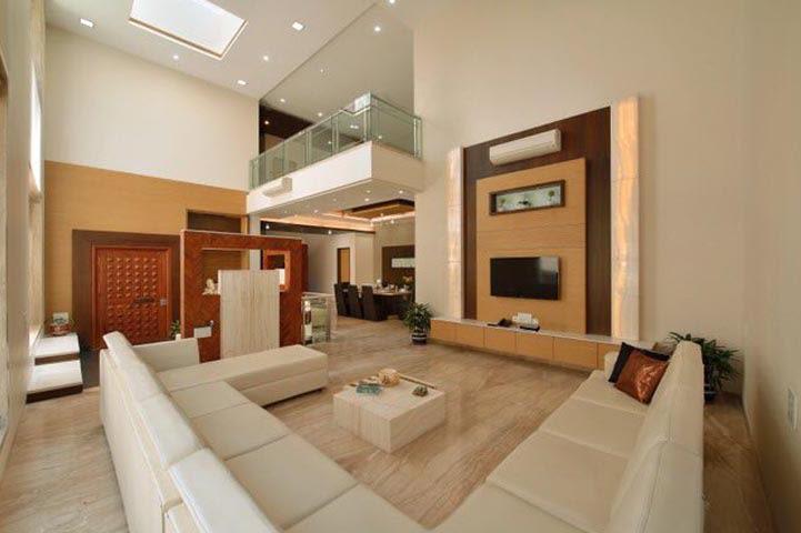 Spacious Living Room With White Sectional Sofa by Ar.Nitin j Kshirsagar Living-room Contemporary | Interior Design Photos & Ideas