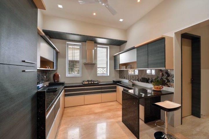 G Shaped Kitchen With Wooden Cabinets by GroupArch Modular-kitchen Contemporary | Interior Design Photos & Ideas
