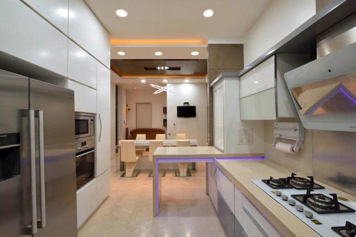 Modular Kitchen With White Kitchen Cabinets by Ar.Nitin j Kshirsagar Modular-kitchen Contemporary | Interior Design Photos & Ideas