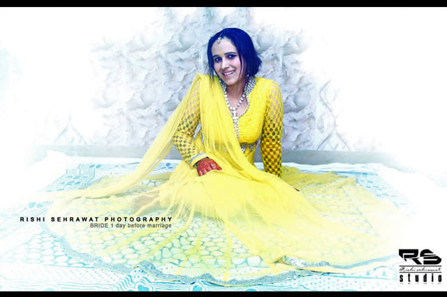 Bride Wearing A Simple Yellow Suit by Rishi Sehrawat Wedding-photography | Weddings Photos & Ideas