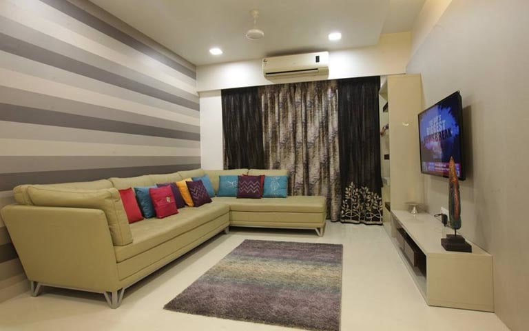 Living Room With Sectional Sofa And Striped wallpaper by Swagita Living-room Contemporary | Interior Design Photos & Ideas