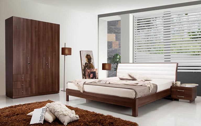 Bedroom With Timber Wood Furniture And Soft Rug by Swagita Bedroom Contemporary | Interior Design Photos & Ideas