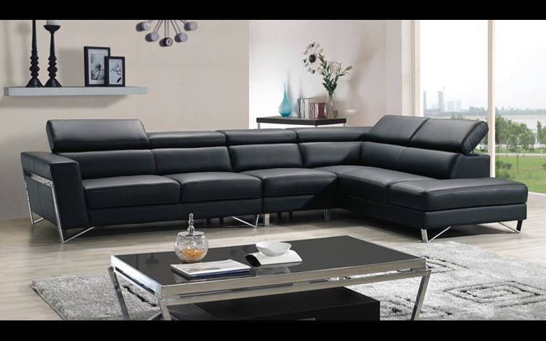 Living Room With Black Leather Back Sectional Sofa by Swagita Living-room Modern | Interior Design Photos & Ideas