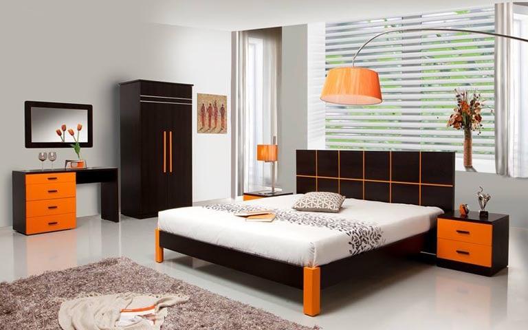 Elegant Bedroom With Dark Wood Furniture And Rough Fibre Rug by Swagita Bedroom Contemporary | Interior Design Photos & Ideas
