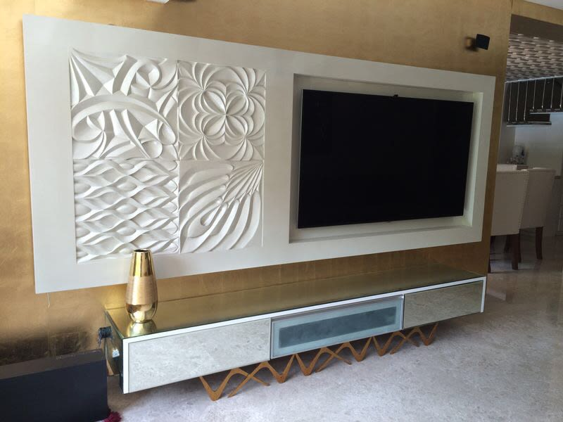 Contemporary white themed TV cabinet decor by ARCHITECT KAUSHAL CHOUHAN Living-room | Interior Design Photos & Ideas
