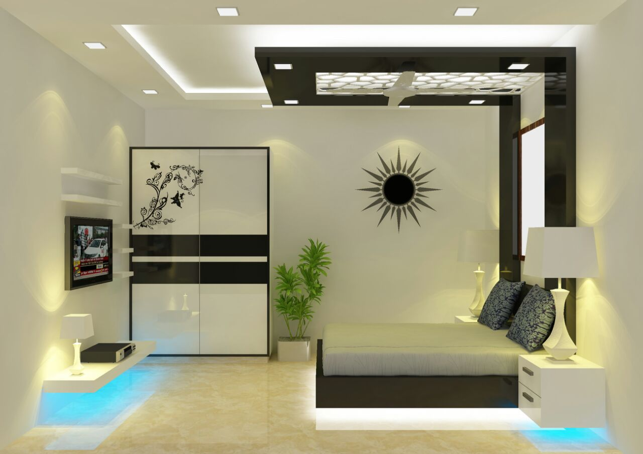Monochrome 3-D effect bedroom decor by Raunaq Designs Bedroom | Interior Design Photos & Ideas