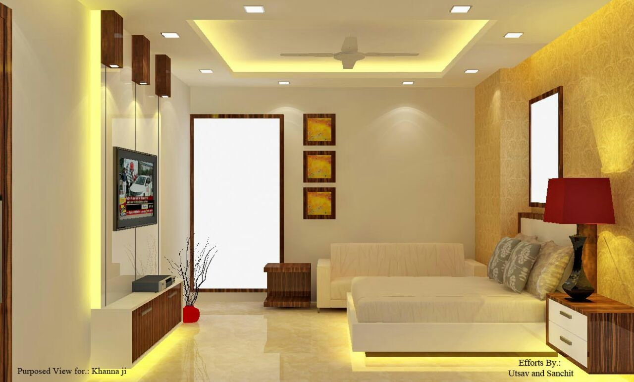 Marble Flooring And Yellow Lighting In Bedroom by Utsav Suri Bedroom Modern | Interior Design Photos & Ideas