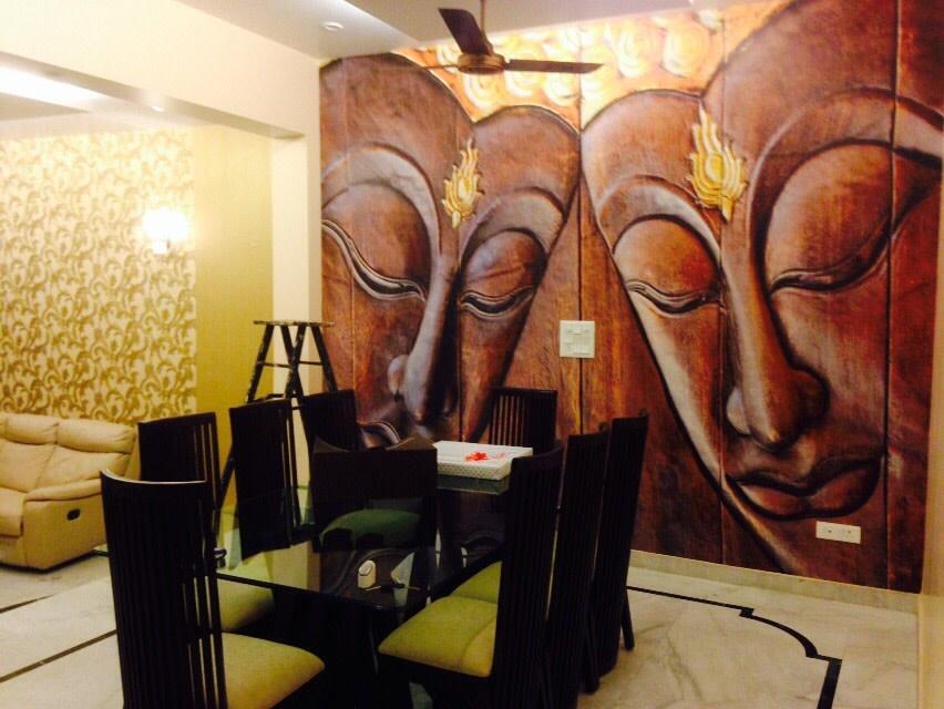 Black Shade Glass Dining Table With Wall Art In Dining Room by Utsav Suri Dining-room | Interior Design Photos & Ideas