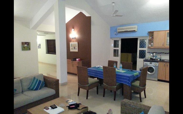 Modern blue themed living room decor by The Design Ministry  Living-room   Interior Design Photos & Ideas