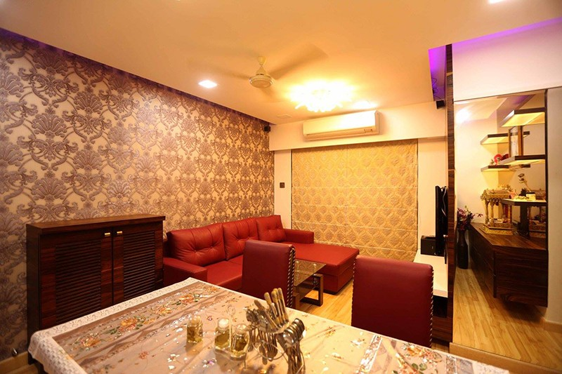 3-D effect red and gold themed modern living room decor by Amitus EPC Projects Pvt Ltd Living-room | Interior Design Photos & Ideas