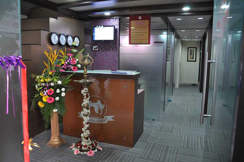 Modern cellular style office entrance decor by Amitus EPC Projects Pvt Ltd | Interior Design Photos & Ideas