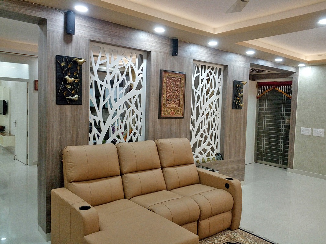 Living Room with Brown L Shaped Sectional Sofa and Wall Art by Ar. Barkha Jain Living-room Modern | Interior Design Photos & Ideas