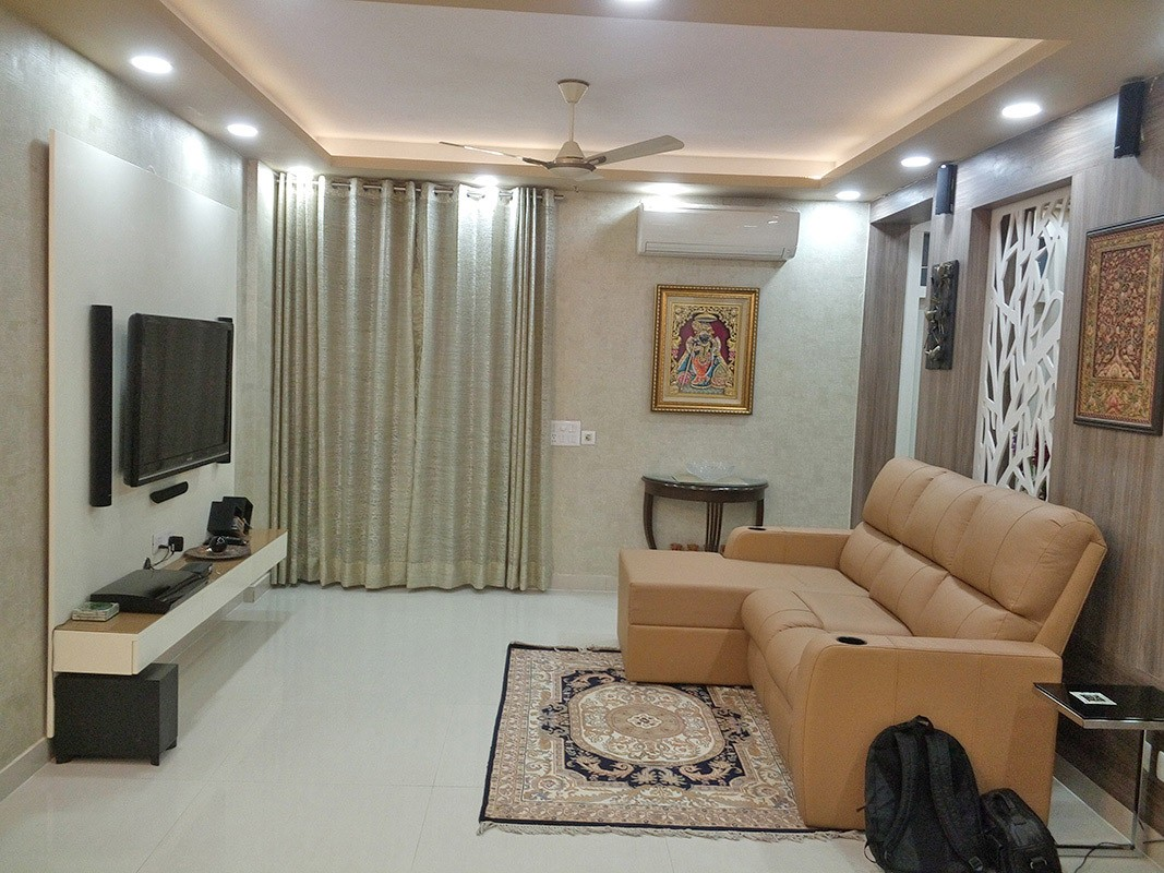 Living Room with L Shaped Brown Sofa and TV Unti by Ar. Barkha Jain Living-room Modern | Interior Design Photos & Ideas