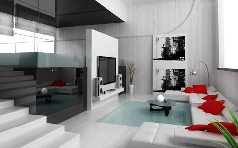 White themed modern living room decor by Imagic ventures Living-room Modern | Interior Design Photos & Ideas