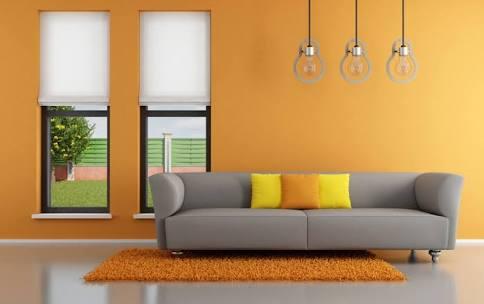 Orange themed modern living room decor by Imagic ventures Living-room Modern | Interior Design Photos & Ideas