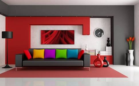 Colorful modern living room decor by Imagic ventures Living-room Modern | Interior Design Photos & Ideas